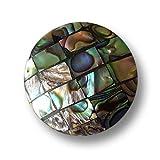 Knopfparadies - 3er Set fantastisch bunt schillernde leicht gewölbte Perlmuttknöpfe aus Abalone Muschel in Mosaik Optik / Handarbeit / Grün, Blau, Lila, Braun, etc. / Perlmutt Knöpfe / Ø ca. 15mm