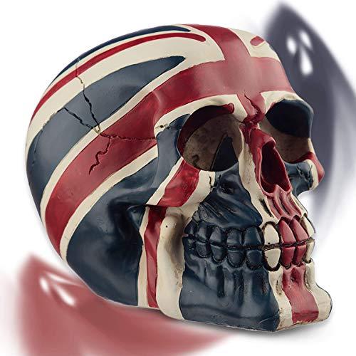 mtb more energy Deko Totenkopf ''Hard Brexit'' Totenschädel Figur | Höhe 10.5 cm | Dekoration UK GB Britain England Flagge