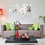 DOGZI Aufkleber Wandtattoos Küche Wandaufkleber Wandaufkleber Blumen - 3D Spiegel Vinyl Abnehmbare Wand Aufkleber Decal Home Decor Art DIY