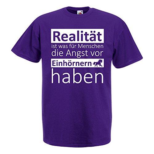 EINHORN Damen Mädchen T-Shirt Realität Angst vor Einhörnern Spruch Motiv JGA Purple XL (Mädchen T-shirt Realität)