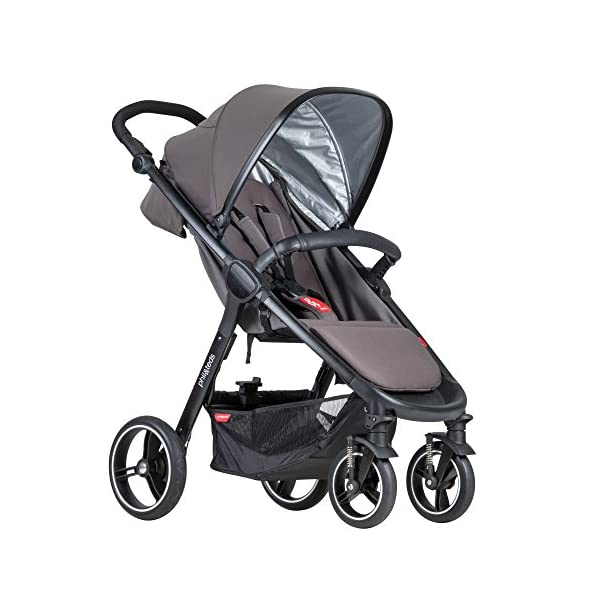 Phil&teds Smart Buggy Pushchair, Graphite phil&teds Foot fold - intuitive, compact, one-piece standing foot fold - a world's first of its kind - is only 23 Inch wide, making it perfect for tight city spaces ; A unique aerocore seat design that's soft and spongy for maximum comfort and is hypo-allergenic, ventilating, insulating, UV resistant, waterproof, non-toxic and simply wipes clean Smooth ride tires - super-smooth, hassle-free riding with 10 Inch rear puncture-proof, aerotech wheels and suspension on all four wheels; convenient hand-operated parking brake offers easy braking control at your fingertips Lightweight - stroller weighs 23.5 lbs. and includes a main, full-size seat that holds up to 44 lbs., an extendable leg and a sun hood with zip-out extension and silent peek-a-boo flap 1