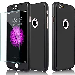 Hybrid 360° Shockproof Case Tempered Glass Cover Apple Iphone 8 7 5 5s Se 6 6 Plus 6s Plus 7 Plus & 8 Plus (For Iphone 7 Plus, Black)