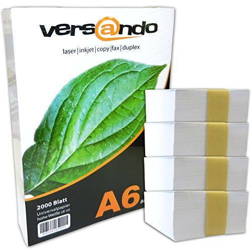 versando PA62000 - Papel de impresión ecológico blanco brillante, 2000 folios DIN A6 (105 x 148 mm), 80 g/qm