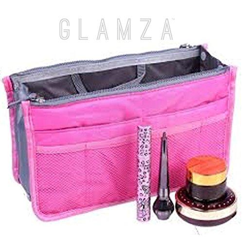 Glamza multi tasca borsa da viaggio spaziosa beauty case da campeggio organizer wash bag makeup storage rosa
