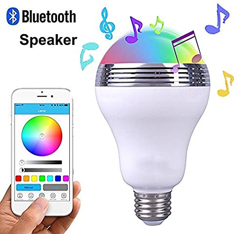 LED Ampoule intelligente E27 Bluetooth 4.0 haut-parleur, Lampe du soir RGB sans Fil Smart avec Bluetooth intégré, Audio mini enceinte + Changement de couleur - Contrôlée par iPhone iPad Appareils Android Tablette pour Salle de Douche, Chambre, Bureau, Salle de bain
