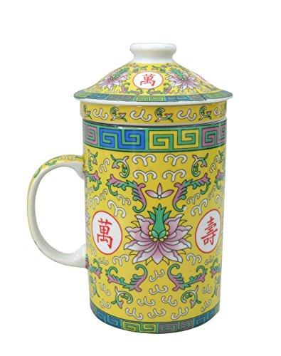 chinesisches Porzellan Teebecher + Sieb & Deckel Serie