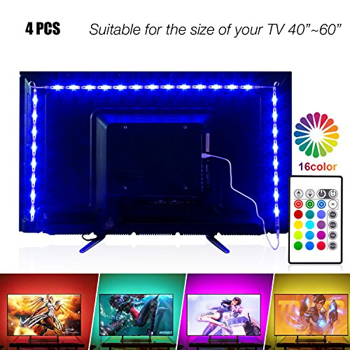 TV Tira LED Iluminación 4 * 50cm USB 5V 5050 SMD RGB Multicolor Flexible Tira de Led Kit Con mando 16 colores