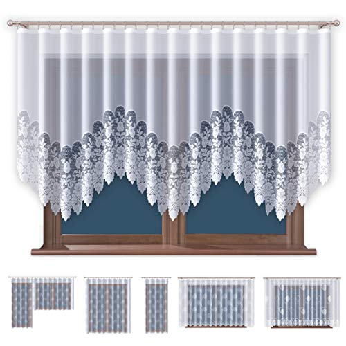 Promag Jacquard Gardinen mit Kräuselband Transparent in Weiß Fenster Vorhang (HxB) 120 x 300 cm - Ohne Bohren - Pflegeleicht | Oeko-TEX® Standard 100 Zertifizierung | Hergestellt in EU