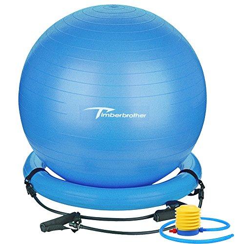 Timberbrother Anti-Burst Gymnastikball / Swiss Ball 75 cm Durchmesser mit Widerstandsbändern für Yoga, Pilates, Fitness, Physiotherapie, Fitnessstudio und Home Exercise - Inklusive Fußpumpe (75cm Blau Ball+Ring+Bands)