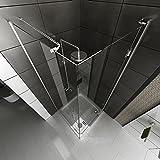 Duschkabine rahmenlos / Echtglas Eck Dusche / Alpenberger / Glasdusche ca. 90 x 90 x 200 cm / Duschabtrennung aus Sicherheitsglas mit Glasveredelung -
