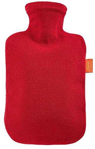 Fashy Wärmflasche Flauschbezug kirschrot, 2 L, 1er Pack (1 x 1 Stück)