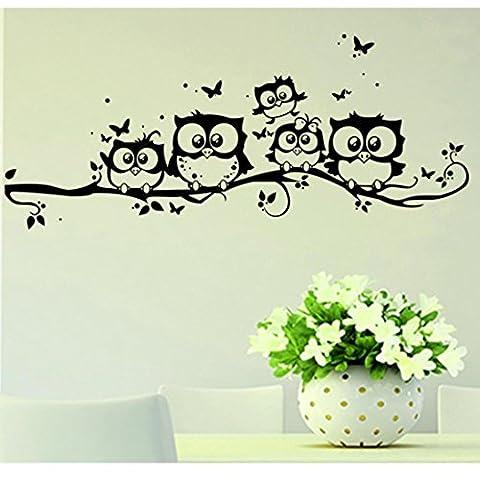 Kingko® Cartoon Owl Butterfly Liveroom Door Decor Wall Sticker Decal Bedroom Vinyl Art Mural