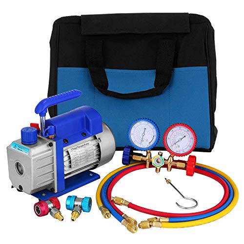 HODOY Kit pompa per vuoto 3CFM 1 / 4HP Kit pompa per vuoto HVAC monostadio A/C Set refrigeratore (3CFM 1 / 4HP)