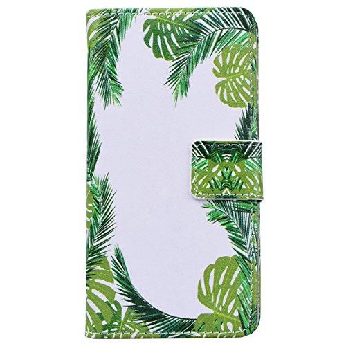 WE LOVE CASE iPhone 7 Cover Fiore Mandala Retro e Bello Style iPhone 7 4,7 Custodia Rosso Copertura Pelle Flip PU Leather Design Internamente Silicone TPU Cassa Caso Bumper Protettiva Anti-Scratch Sh Green Leaves