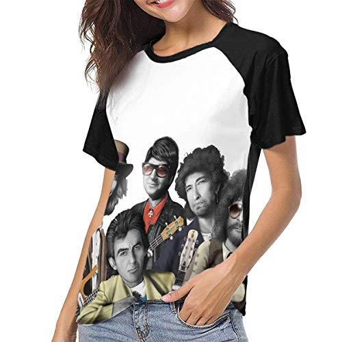 Bagew Damen T-Shirt Mit Rundhalsausschnitt, Traveling Wilburys Women\'s Baseball Tee Short Sleeve Round Neck Casual Tops