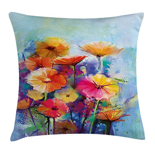 Pillow Cushion Cover, Abstract Flower Bouquet in Soft Watercolors Daisies and Gerberas Spring Seasonal, Decorative Square Accent Pillow Case, 18 X 18 Inches, Multicolor ()