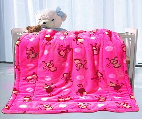 ft-home-fashion-ultra-soft-rose-color-monkey-printed-baby-sherpa-borrego-blanket-baby-girls-stroller