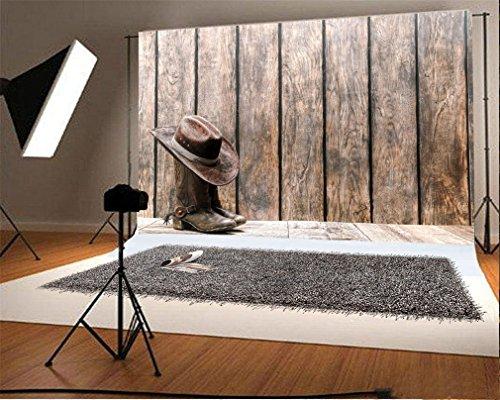 YongFoto 1,5x1m Vinyl Foto Hintergrund Holz Leder Hut West Cowboy Stiefel RIC Stripes Holzboden...