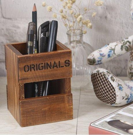 Creative portapenne quadrato in legno massiccio pen cup pen case multifunzione brush pot contenitore organizzatore da scrivania per ufficio cancelleria cosmetici supporto display