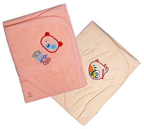 Sathiyas Akash 100% Cotton Embroidered Baby towels - Pack of 2 (Orange || Cream)