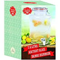 The Vintage Company 7.6 Litre 22 x 22 x 35 cm Jumbo Glass Drinks Dispenser with Air Tight Lid and Tap