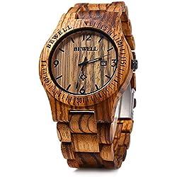 BEWELL Reloj de Cuarzo Analógico para Hombre de Madera con Funsión del Canlendario(Madera de Cebra)