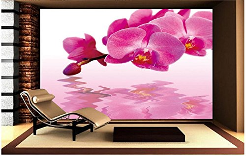Lqwx Custom 3D Photo Wallpaper 3D Wandbilder Tapete Schmetterling Orchidee Wasser Blumenbilder...