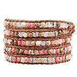 KELITCH Handmade Wicklen Armband Synthetisch Halsband Perlen Echtes Leder Armband Handmade Mode (Rosa)