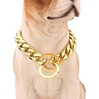 [Gesponsert]Mcsays Hundehalsband, Panzerkette im Hip-Hop-Stil, Gold, breit, 15 mm, Flachpanzerkette, kubanisch, 316L-Edelstahl, für Ihren Hund, Würge-Halsband