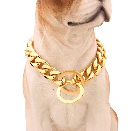 MCSAYS 15mm Largo Hip Hop Tono dorato Curb Cuban Link Acciaio inossidabile 316L Dog Choke Collare a catena 16-34'(20 pollici)