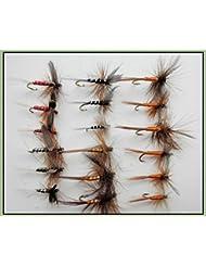 18sec mouches de pêche truite, Spinners, Sherry, rouge, noir, vert olive, Orange, Choix de Tailles disponibles