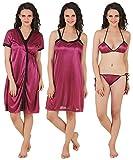 Fasense Women's Satin Nightwear/Sleepwear Set - Combo of 4 (X-Large, Dark Wine)