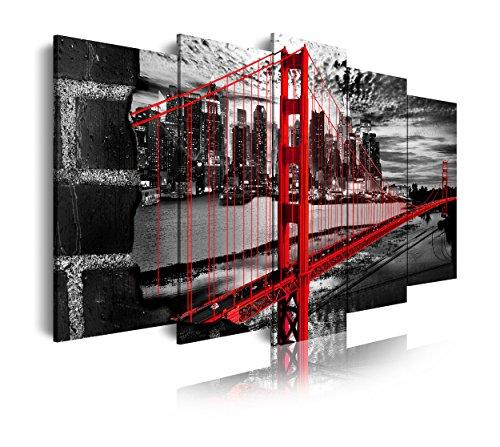 DekoArte 278 - Cuadro moderno en lienzo 5 piezas XXL ciudad San Francisco puente Golden Gate, 200x3x100cm