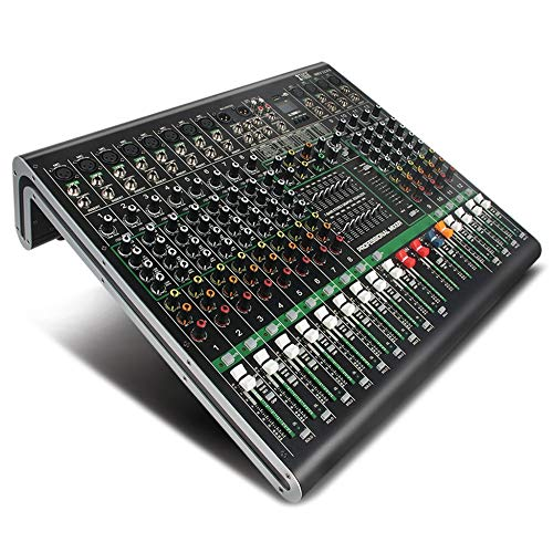 WJDASM microfono Scheda audio mixer audio a 12 canali Ultra-fashion di tutti gli chassis in metallo con display digitale MP3, Bluetooth, EQ, Effect, Style