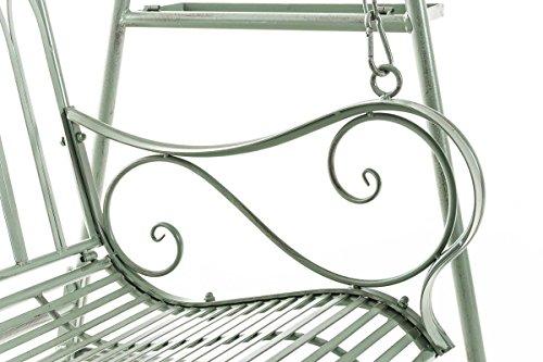 CLP Garten Hollywoodschaukel YLENIA, 2 Sitzer / 3 Sitzer, Landhaus-Stil, Metall (Eisen), bis zu 6 Farben wählbar antik-grün - 7