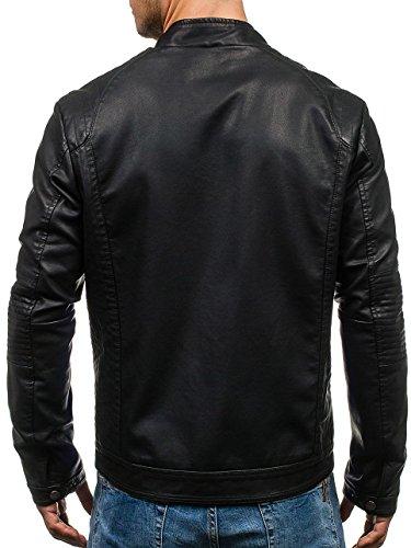 BOLF - Veste - Faux cuir - Fermeture éclair – Homme – Motif – 4D4 Noir