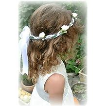 Accesorios para pelo corona blanca tocado boda comunión bautizo flores infantil