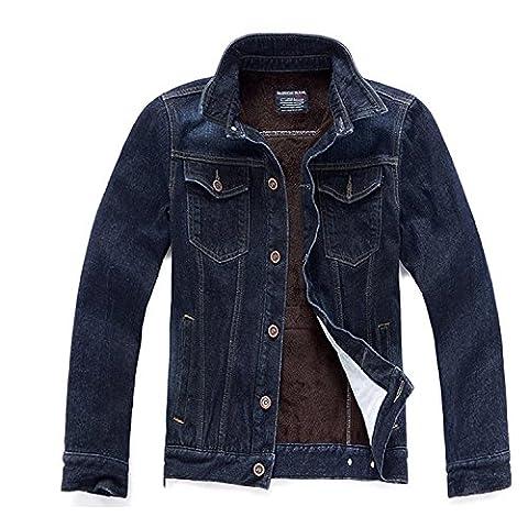 Zhuhaitf Fashion Winter Mens Plus Slim Fit Velvet Warm Denim Jackets Outerwear Coats