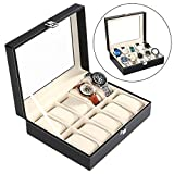 binxin 10-watch Display Box Karbonfaser-Design/Glas Top schwarz