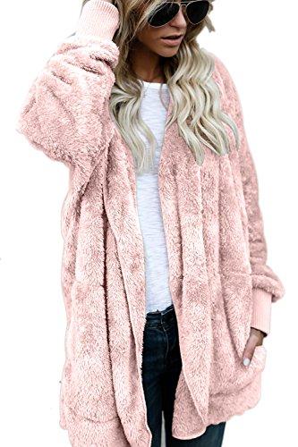 Le Donne Eleganti Inverno Fuzzy Incappucciato Aperta Davanti Cardigan Vestiario Giacche Dei Costi Pink