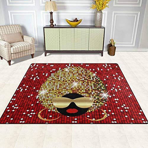 Guoey tappeti tappeto di feltro 4'x5', le donne africane etnici tribali bling glitter antiscivolo in poliestere soggiorno sala da pranzo camera da letto ingresso tappeto tappetino home decor