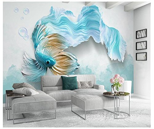Yosot Custom 3D Fototapete Wandbild Non-Woven Wohnzimmer Fernseher Sofa  Hintergrund Tapete Abstrakt Blau Guppy 3D Tapeten Home Decor-140Cmx100Cm