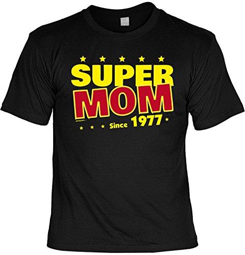 T-Shirt zum 40. Geburtstag Super Mom Since 1977 Geschenk zum 40 Geburtstag 40 Jahre Geburtstagsgeschenk 40-jähriger Schwarz