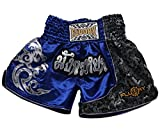 FLUORY Muay Thai Combat Shorts, Short MMA Vêtements d'entraînement Cage Fighting Lutte Arts Martiaux Kick Boxing Short Vêtements, MTSF15LANLONG, Small