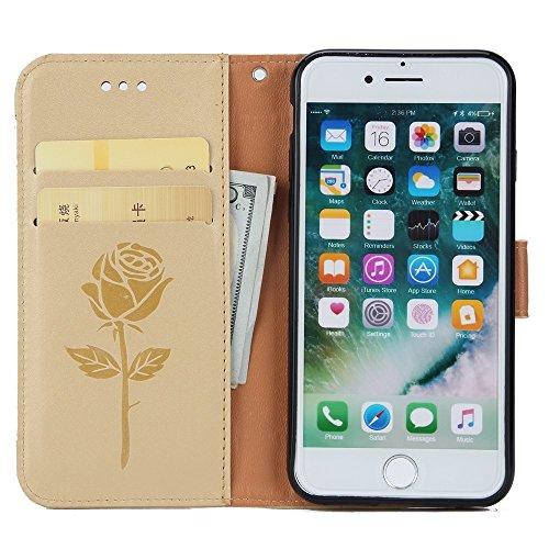 EKINHUI Case Cover Gemischte Farben Rose Blume matt Premium PU Leder Brieftasche Stand Case Cover mit Lanyard & Card Slots für iPhone 7 ( Color : Pink ) White