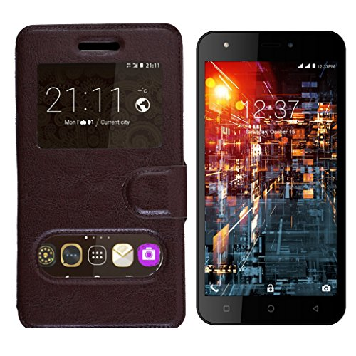 Shopme Premium PU leather flip cover for Panasonic P11 (360 Degrees Protection,Call Viewing Window, Caller ID, 360 degrees Viewing, Watch Movies Gaames, Slider for taking snaps)  available at amazon for Rs.219