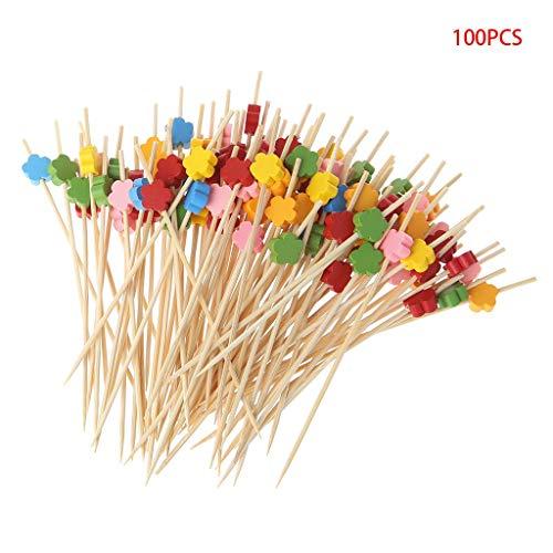 SimpleLife 100 Stück Pflaumenblüte Bambus Cocktail Picks Food Sticks Einweg Zahnstocher (Einfaches Fingerfood Für Halloween-party)