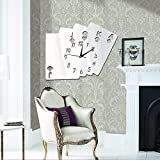 Wall Stickers lzzfw lzzfw Poker DIY Horloge Murale à Trois Dimensions Stickers muraux 3D Acrylique Salon Décoration Miroir Horloge Autocollants, Argent