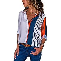 Aleumdr Mujer Blusa Cuello En V Camiseta de Mangas Largas Camisa con Botones Naranja Size XL