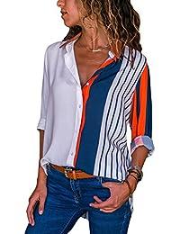 Camiseta Aleumdr Mujer Largas V con S de Mangas En Botones Size Camisa Blusa Cuello rXTp8wRTW